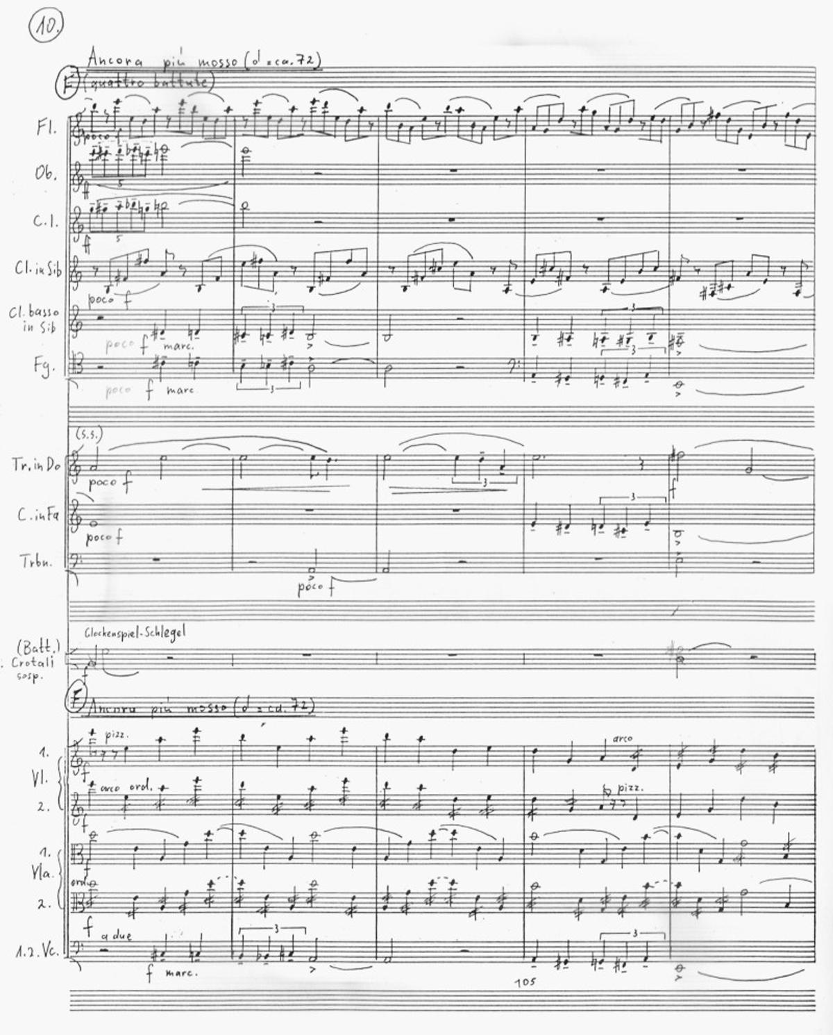 Ivan Eröd, Manuskript – Bukolika Op. 64 / © Musikverlag Doblinger, abgebildet mit freundicher Genehmigung des Verlages