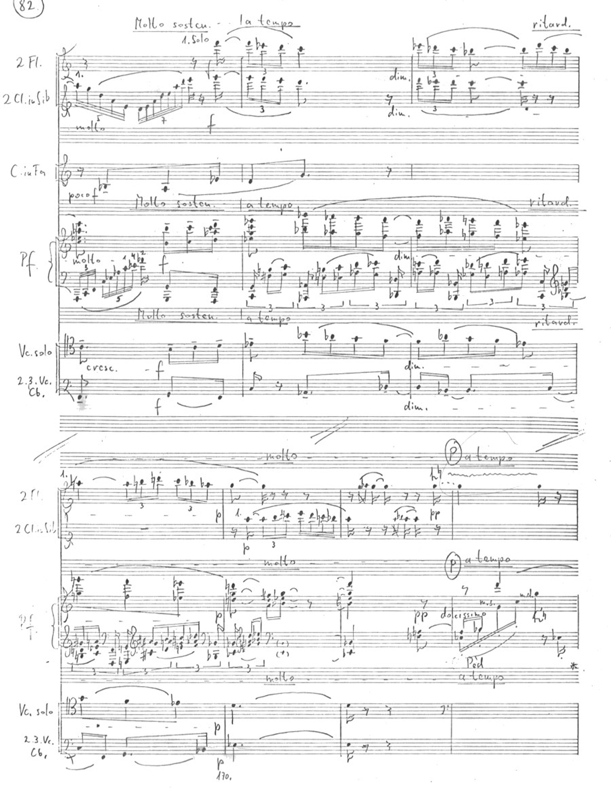Ivan Eröd, Manuskript - Klavierkonzert Op. 19 / © Musikverlag Doblinger, abgebildet mit freundicher Genehmigung des Verlages