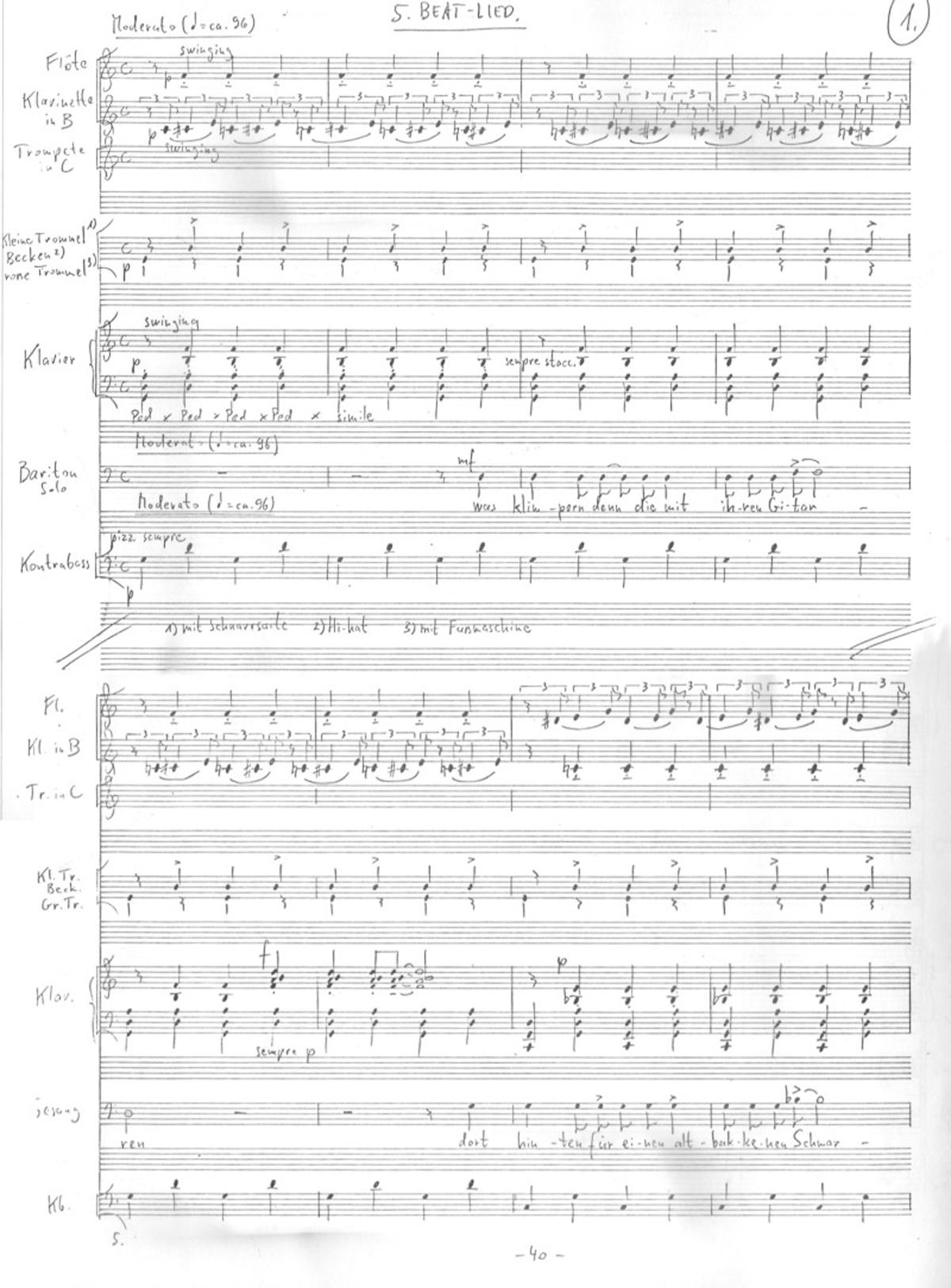 Ivan Eröd, Manuskript - Krokodilslieder Op. 28 / © Musikverlag Doblinger, abgebildet mit freundicher Genehmigung des Verlages