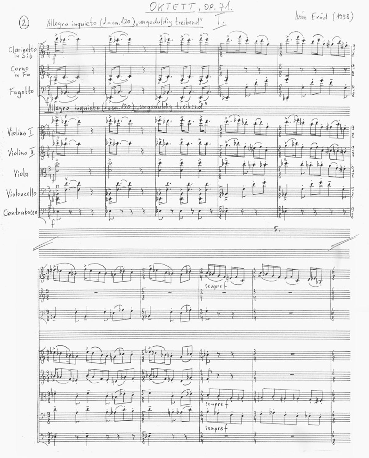 Ivan Eröd, Manuskript – Oktett Op. 71 / © Musikverlag Doblinger, abgebildet mit freundicher Genehmigung des Verlages