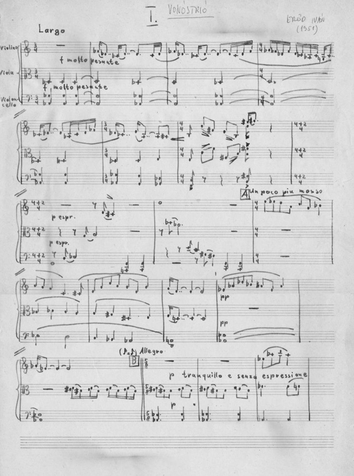 Ivan Eröd, Manuskript - Streichtrio Op. 1 / © Iván Eröd
